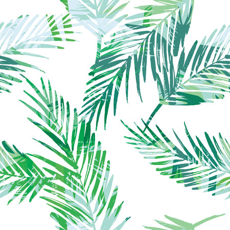 Seamless exotic pattern with palm leaves. Vector hand draw illustration 向量圖像