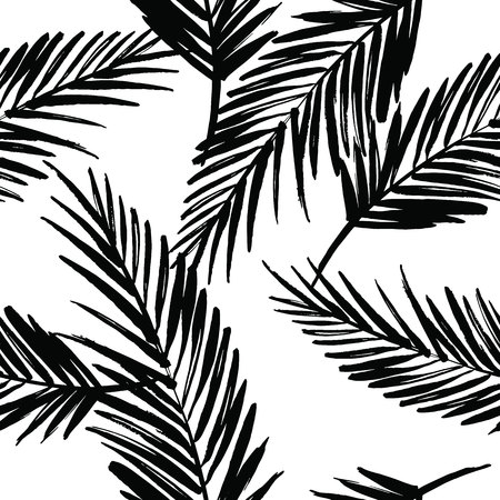tropical forest: Seamless exotic pattern with palm leaves . Vector hand draw illustration