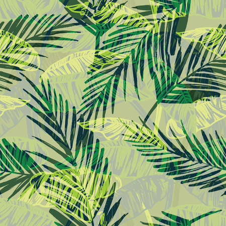 pastel drawing: Seamless exotic pattern with palm leaves. Vector hand draw illustration Illustration