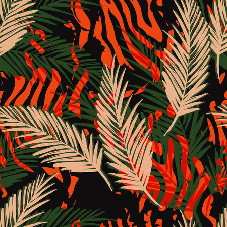 Seamless exotic pattern with palm leaves and animal pattern. Vector hand draw illustration