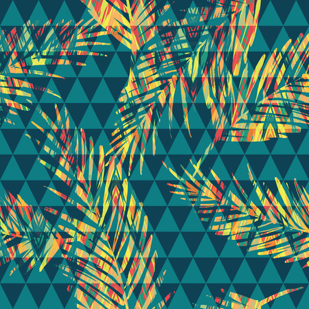foliage: Seamless exotic pattern with palm on geometric background. Vector hand draw illustration Illustration