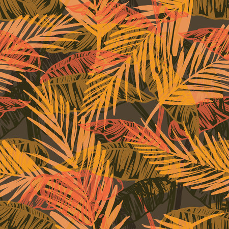 Seamless exotic pattern with palm leaves. Vector hand draw illustration Vettoriali