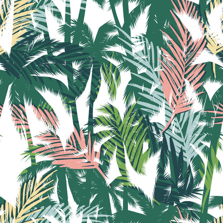 Tropical summer print with palm. Seamless pattern 矢量图像