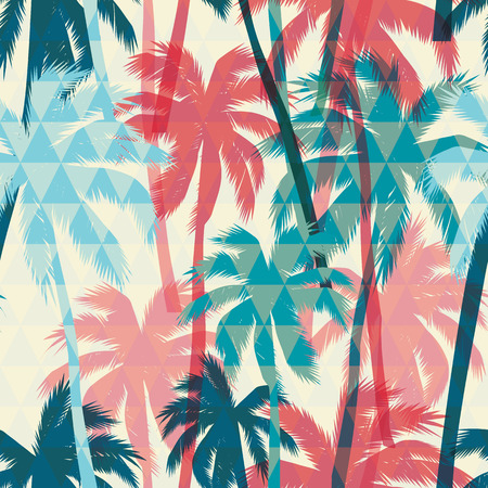 Seamless exotic pattern with palm on geometric background. Vector hand draw illustration 向量圖像