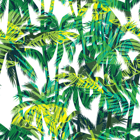 Tropical summer print with palm. Seamless pattern Çizim