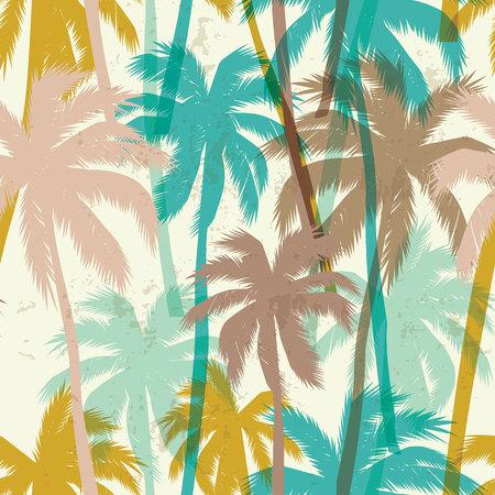 热带夏季印花与手掌。无缝模式