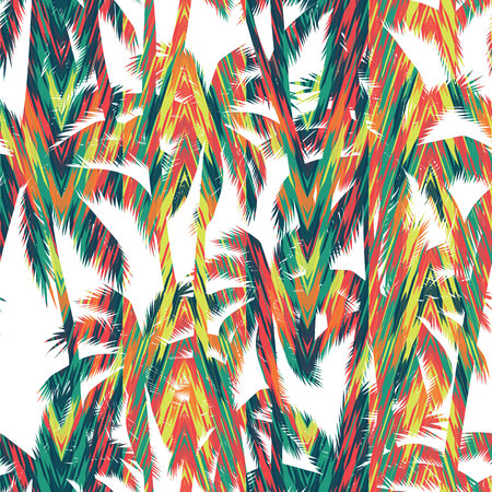 Tropical summer print with palm. Seamless pattern Vectores