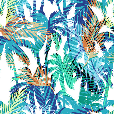 Tropical summer print with palm. Seamless pattern Ilustracja