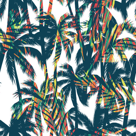 Tropical summer print with palm. Seamless pattern  イラスト・ベクター素材