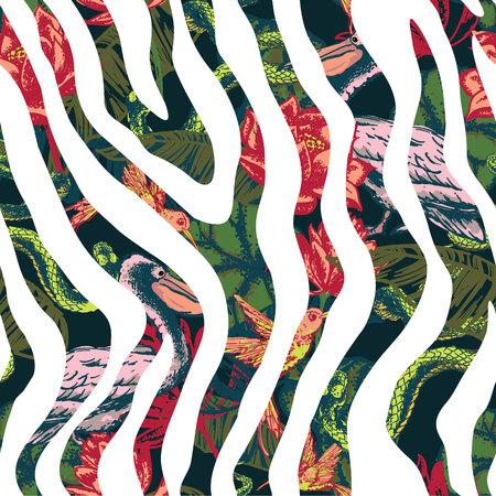 animal print: Drenaje de la mano fondo de fantasía tropical. Ilustración del vector. patrón sin fisuras