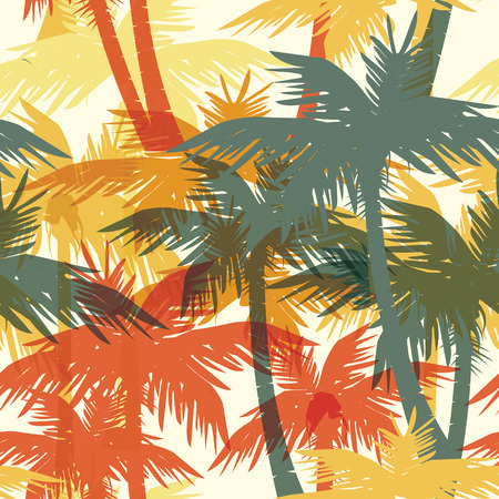 Tropical summer print with palm. Seamless pattern Stock Illustratie