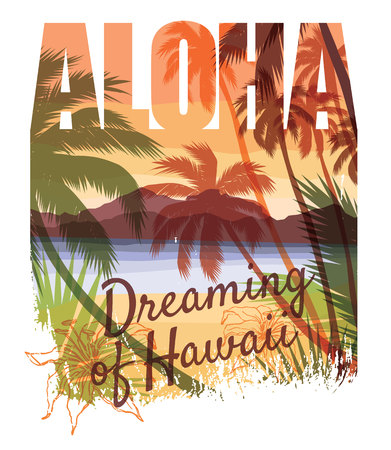 Tropical beach summer print with slogan for t-shirt graphic and other uses. Vector illustration Vettoriali
