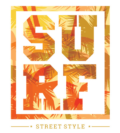 slogan: Tropical beach summer print with slogan for t-shirt graphic and other uses. Vector illustration Illustration
