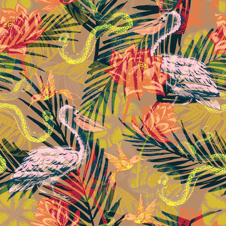 flora fauna: Seamless exotic pattern with abstract palm leaves and tropical animals. Vector hand draw illustration