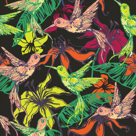 flora fauna: Hand drawn tropical background with colibri and flowers. Seamless pattern