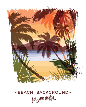 solitary: Beach summer background. Vector illustration. Design element