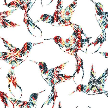 flit: Tropical seamless pattern with bird. Vector illustration Illustration