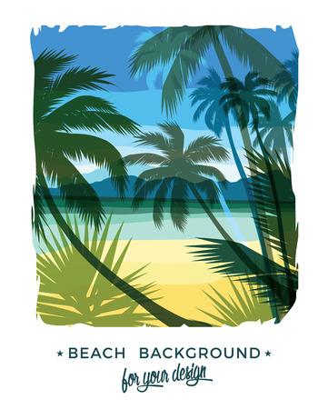beautiful: Beach summer background. Vector illustration. Design element