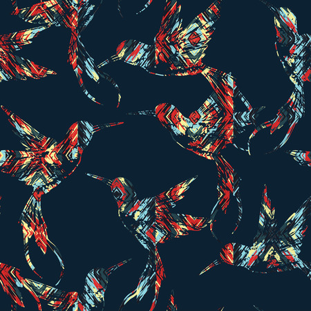 vintage patterns: Tropical seamless pattern with bird. Vector illustration Illustration