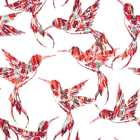 Tropical seamless pattern with bird. Vector illustration Illustration