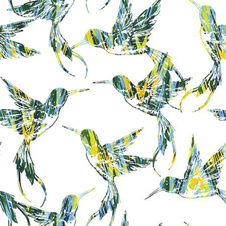 expressive style: Tropical seamless pattern with bird. Vector illustration Illustration