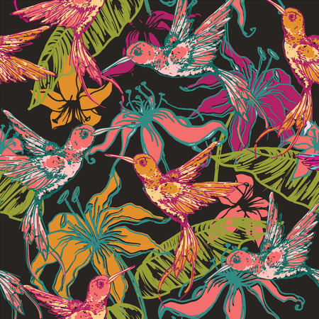 fauna: Hand drawn tropical background with colibri and flowers. Seamless pattern