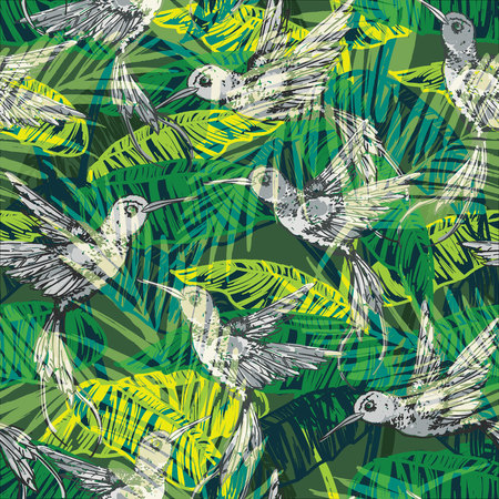flora fauna: Seamless exotic pattern with abstract palm leaves and colibri. Vector hand draw illustration Illustration