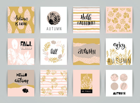 Set of artistic creative autumn cards. Hand Drawn textures and brush lettering. Design for poster, card, invitation, placard, brochure, flyer. Vector templates