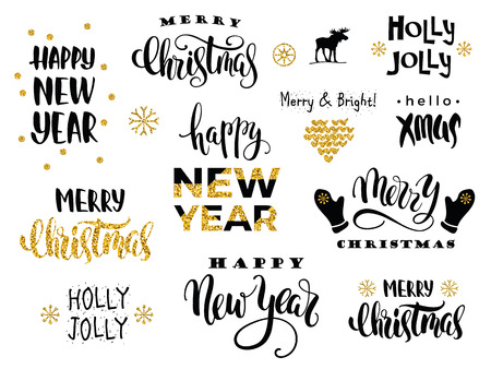 happy web: Merry Christmas and Happy New Year. Vector lettering calligraphy design with glitter elements for card, poster, brochure, flyer, web and other users.