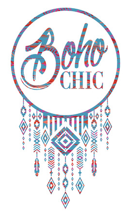 gipsy: Vector illustration with the slogan for t-shirts, posters, card and other uses. Boho chic. Ethnic style. Fashion trend Illustration