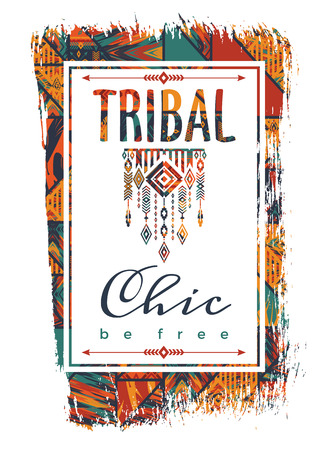 trend: Vector illustration with the slogan for t-shirts, posters, card and other uses. Boho chic. Ethnic style. Fashion trend Illustration
