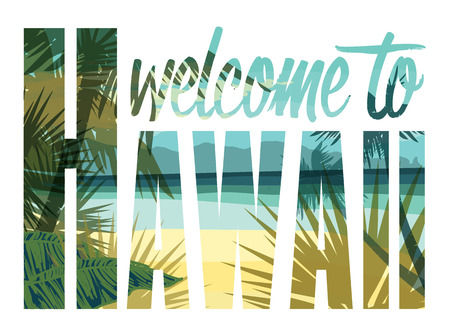 island paradise: Vector illustration with the slogan for t-shirts, posters, card and other uses Illustration