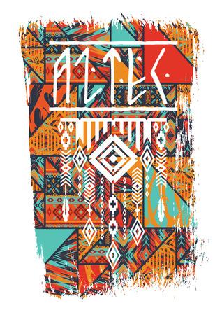 유행: 티셔츠, 포스터, 카드 및 기타 용도 슬로건 벡터 일러스트 레이 션. 보헤미안 세련된. 에스닉 스타일. 패션 트렌드 일러스트