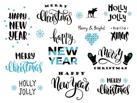happy web: Merry Christmas and Happy New Year. Vector lettering calligraphy design with glitter elements for card, poster, brochure, web and other users