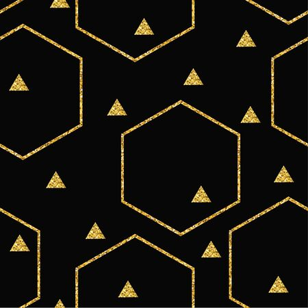 Abstract geometric seamless pattern with glitter triangles and hexagons. Vector for Christmas and New Year design. For paper, cover, fabric, interior decor and other users.  イラスト・ベクター素材