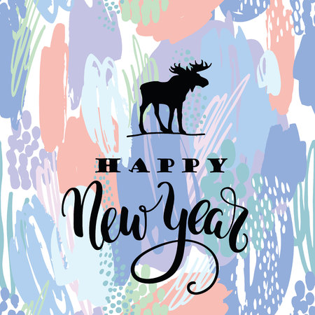 happy web: Happy New Year. Vector lettering calligraphy design on artistic abstract for card, poster, brochure,  web and other users