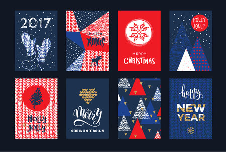 xmas tree: Set of artistic creative Merry Christmas and New Year cards. Hand Drawn textures and brush lettering. Design for poster, card, invitation, placard, brochure, flyer. Vector templates.