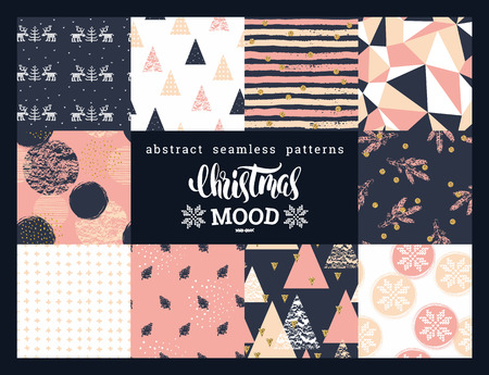 Christmas and New Year Set. Abstract geometric and ornamental seamless patterns. Trendy Hand Drawn textures. Vector Design Templates Collection for Banner, Paper.
