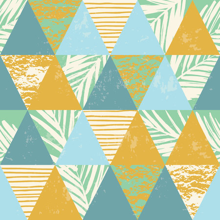 surfing beach: Seamless exotic pattern with palm leaves on geometric background . Vector illustration. Illustration