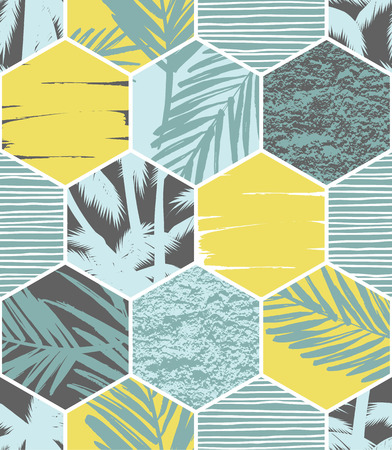 Seamless exotic pattern with palm leaves on geometric background . Vector illustration. Vettoriali