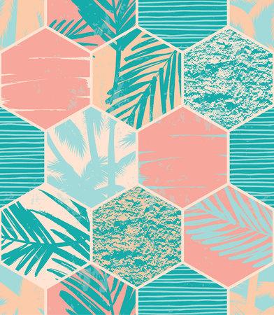 Seamless exotic pattern with palm leaves on geometric background . Vector illustration. Ilustração