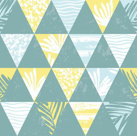 Seamless exotic pattern with palm leaves on geometric background . Vector illustration. 向量圖像