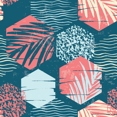 Seamless exotic pattern with palm leaves on geometric background . Vector illustration. 일러스트