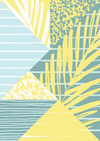 painted the cover illustration: Abstract summer composition with hand drawn vintage texture and geometric elements. Vector template for poster, cover, card design and other users. Illustration