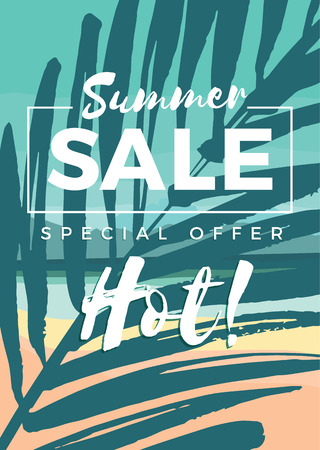 estate: Summer sale design. Vector illustration. Design element Vettoriali