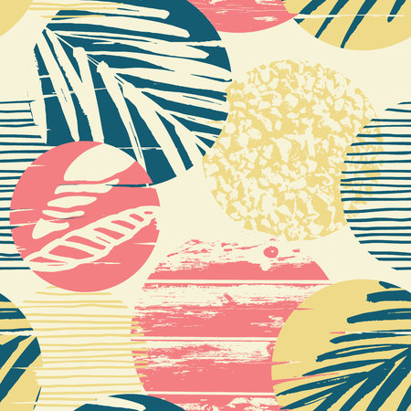 Seamless exotic pattern with palm leaves on geometric background . Vector illustration. Çizim