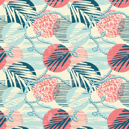 Seamless exotic pattern with palm leaves on geometric background . Vector illustration. Reklamní fotografie - 67681318