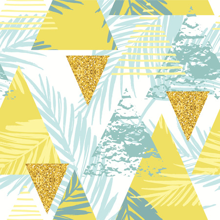 Seamless exotic pattern with palm leaves on geometric background . Vector illustration.