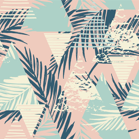 Seamless exotic pattern with palm leaves on geometric background . Vector illustration. Иллюстрация