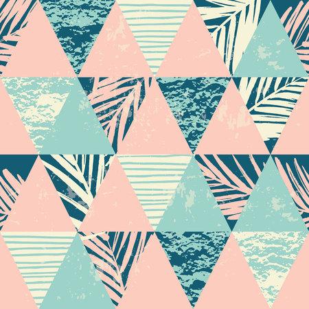 유행: 손바닥 원활한 이국적인 패턴 형상 배경에 나뭇잎. 벡터 일러스트 레이 션.